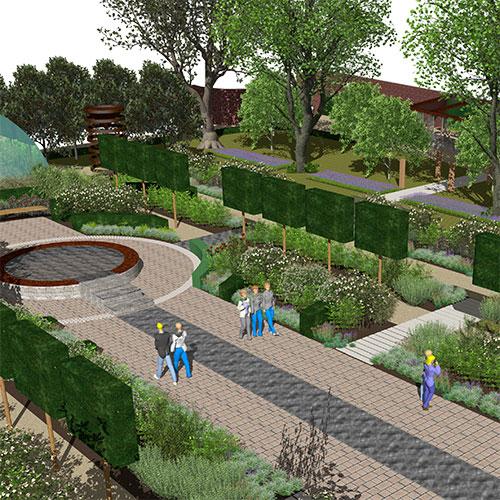 Commercial Property Landscape Design: MOTTISFONT ABBEY NATIONAL TRUST WALLED GARDEN HAMPSHIRE