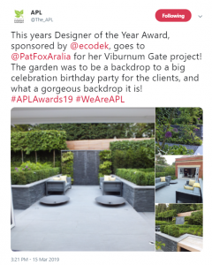 APL Awards Announcement on Twitter